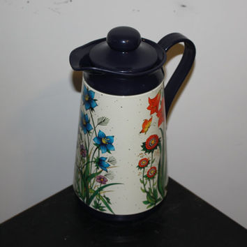 Retro vintage Interpur flower pitcher, coffee pot, carafe, thermos