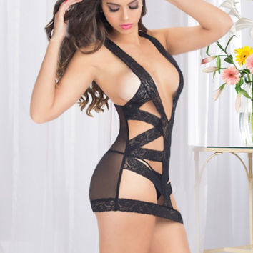 Black Lace Cut-Out Mesh Lingerie