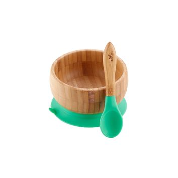 Green Avanchy Bamboo Suction Baby Bowl + Spoon