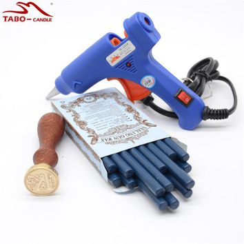 Classic Initial Letter Stamp with Navy Blue Wax Seal Stick for Personal Wedding Invitation Decoration Glue Gun Included