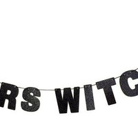 Cheers Witches Glitter Banner in Sparkling Black