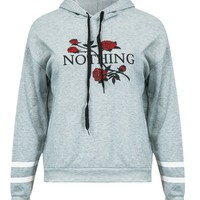 Gray Embroidery Rose Long Sleeve Hoodie