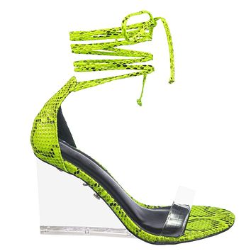 Francy12 Lucite Leg Wrap Wedge High Heels - Womens Wrap Around Transparant Shoes