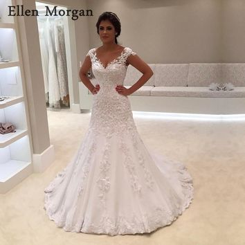Ivory V Neck Mermaid Wedding Dresses 2018 Summer Beach Garden Sexy Appliques Lace Beaded Zipper Merry Bridal Gowns