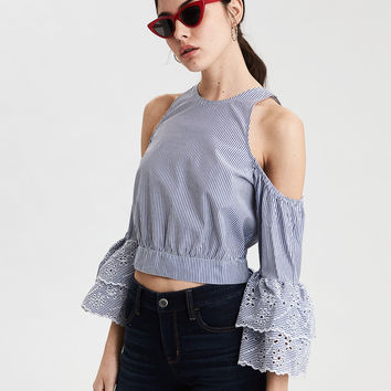 AE Striped Cold Shoulder Crop Top, Light Blue