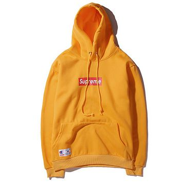Champion & Supreme autumn and winter joint embroidery men and women hooded sweater Yellow
