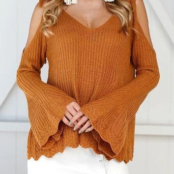 Yellow Patchwork Cut Out Spaghetti Straps Off Shoulder V-neck Long Sleeve Sweater