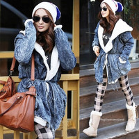 Winter Outwear for Women Thickening Denim Warm Coat Fake Fur Jacket = 1838486660