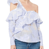 Floral Fil Coupé Asymmetrical One Shoulder Top