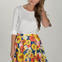 Yellow, Red, + Blue Floral Flowy Skirt