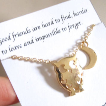 Night owl with half moon necklace, Friendship necklace, A5gold, Best Friend necklace, Best Friend Gift, Birthday Gift, Gift for friend