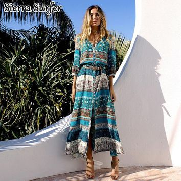 Swimsuit Cover Up Tunics For Beach Swimwear Women Kaftan Dress 2018 Summer Wear New Bohemia Printing A Maios Mayo Tunique De
