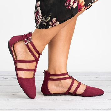 Strappy Faux Suede Flats - Burgundy