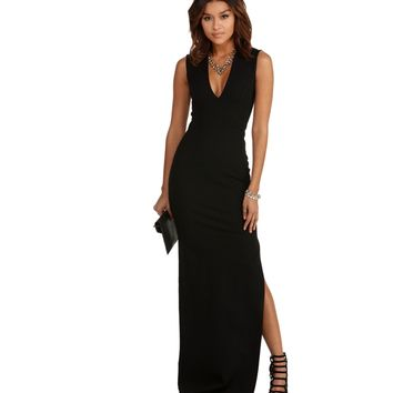 Jennifer Black Deep V Dress