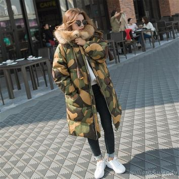 2017 Fashion Women Winter Thicken Camouflage Coat Cheap Chinese Quilted Jacket Fur Collar Palto Elegant Korean Military Cloak