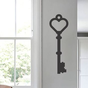 Skeleton Key Heart Shape Vinyl Wall Decal Sticker Art