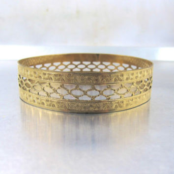 Gold Etched Bangle Bracelet, Victorian Revival Jewelry, Vintage Etched Openwork Lacy Chain Link Wide Bangle Bracelet, Stacking Bracelet, 8""