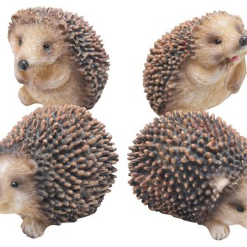 "Mini Resin 2.75"" Hedgehog Figurines (Set of 4) Mini Garden Statues"