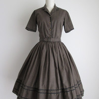 "1950s Dress / Vintage 1950s Day Dress / Gingham Cotton Dress Set 24"" Waist"