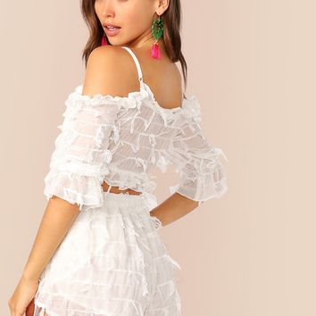 Lace-Up Front Fringe Trim Bustier White Top And Shorts Set