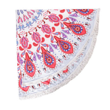 Bright Eye Paisley Round Tassel Beach Towel