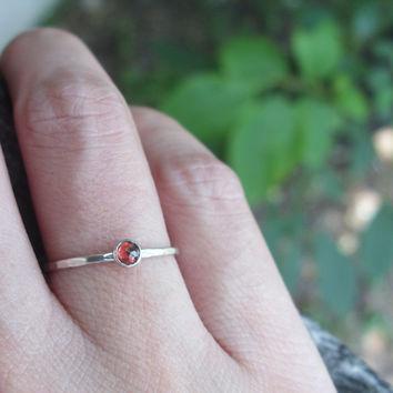 Tiny Rose Cut Garnet Stacking Ring in Sterling Silver