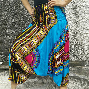 Exuma Egyptian Pants Harem Drop Crotch Elephants Aztec Boho Bohemian pattern hippies Gypsy Tribal Fashion Vegan Style Clothing Clothes Blue