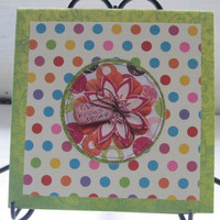 Handmade, Mom Knows Best Mothers Day or Birthday Card, Floral and Ploka Dot Card