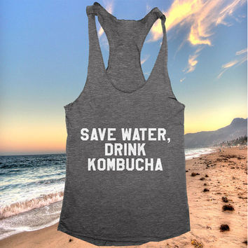 save water drink kombucha racerback tank top yoga gym fitness fashion tumblr clothes work out top
