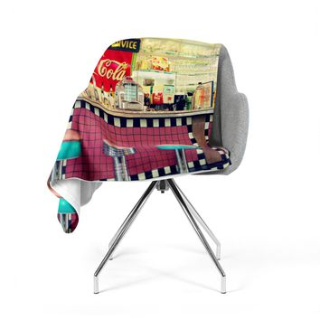 "Sylvia Cook ""Retro Diner"" Coca Cola Fleece Throw Blanket"