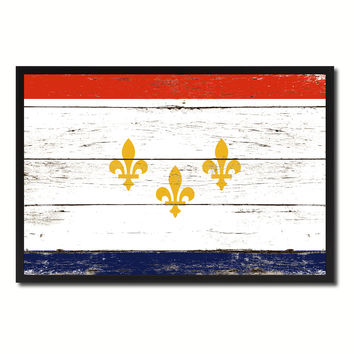 New Orleans  City Louisiana State Flag Vintage Canvas Print with Black Picture Frame Home Decor Wall Art Collectible Decoration Artwork Gifts
