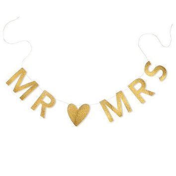 Mr & Mrs Gold Glitter Wedding Banner (Pack of 1)