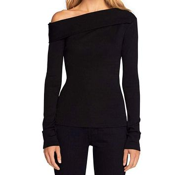 Rag & Bone Carmen Black Long Sleeve Off The Shoulder Top