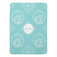 Fairy Tale Castle Crown Personal Aqua Baby Blanket