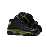 DCCK Nike Air Jordan 13 Retro AJ13 Black/Army Green Sneaker Shoes US8-13