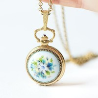 Floral painting watch necklace Dawn, gold plated watch pendant vintage, roman numerals jewelry watch pendant blue flower gift, boho pendant