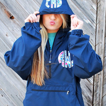 Preppy Charles River Pack N Go Pullover Wind Jacket with Lilly Pulitzer Double Monogram Light Rain Jacket