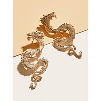 1pair Dragon Design Earrings