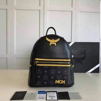 MCM Stark Backpack In Side Studded BLK & GLD