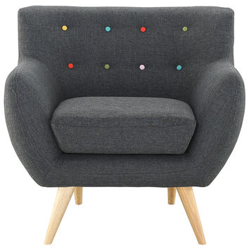 Modway Remark Armchair in Tufted Gray Fabric W/ Natural Finish Wood Legs