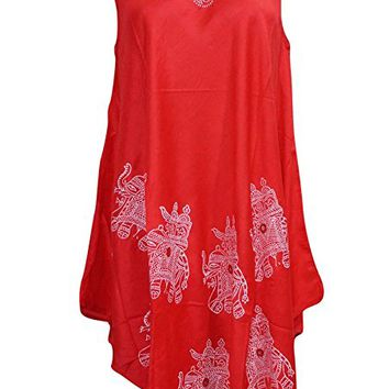 Mogul Women's Summer Dress Elephant Print Sleeveless Red Cover Up M