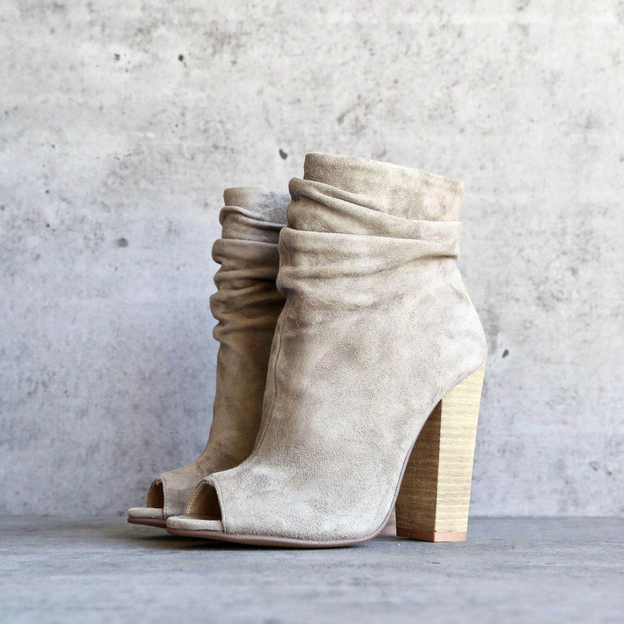 chinese laundry x kristin cavallari - laurel open toe slouchy bootie - kid  suede grey cd58a98ac