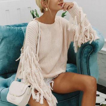 Solid Drop Shoulder Fringe Detail Sweater