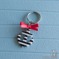 Sailor Black Stripes Red Bow Key Chain