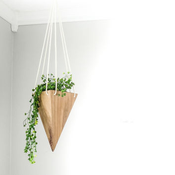 W/S Geometric Hanging Planter - Walnut Tall