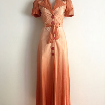 Vintage 70s 'Papilion' rust coloured two tone dip dyed cotton maxi dress with button front , puff sleeves and exaggerated collar / Deadstock
