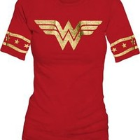 Wonder Woman Gold Foil Striped Sleeves Red Juniors T-shirt  - Wonder Woman - | TV Store Online