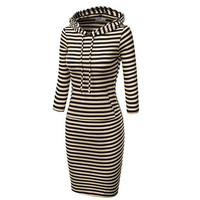 Hooded Mid-Calf Striped Slim Fashion Sweat Dress