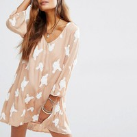 Honey Punch | Honey Punch Sheer V Neck Dress With Embellishment at ASOS