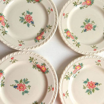 Shabby Cottage FOUR Walker True China dessert / tea plates, side plates, pink wild roses floral,  Mandalay pattern